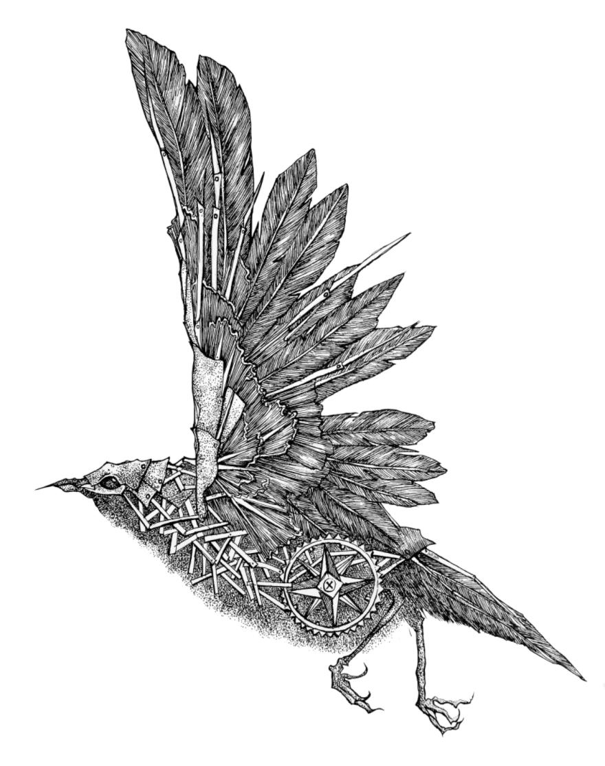 機械鳥の格好良いモノクロイラストレーション